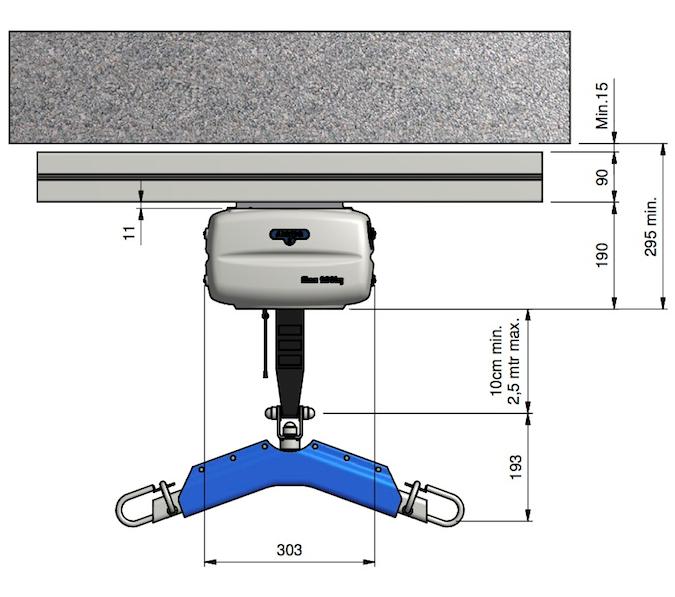 OT200 Compact Ceiling Hoist Dimensions