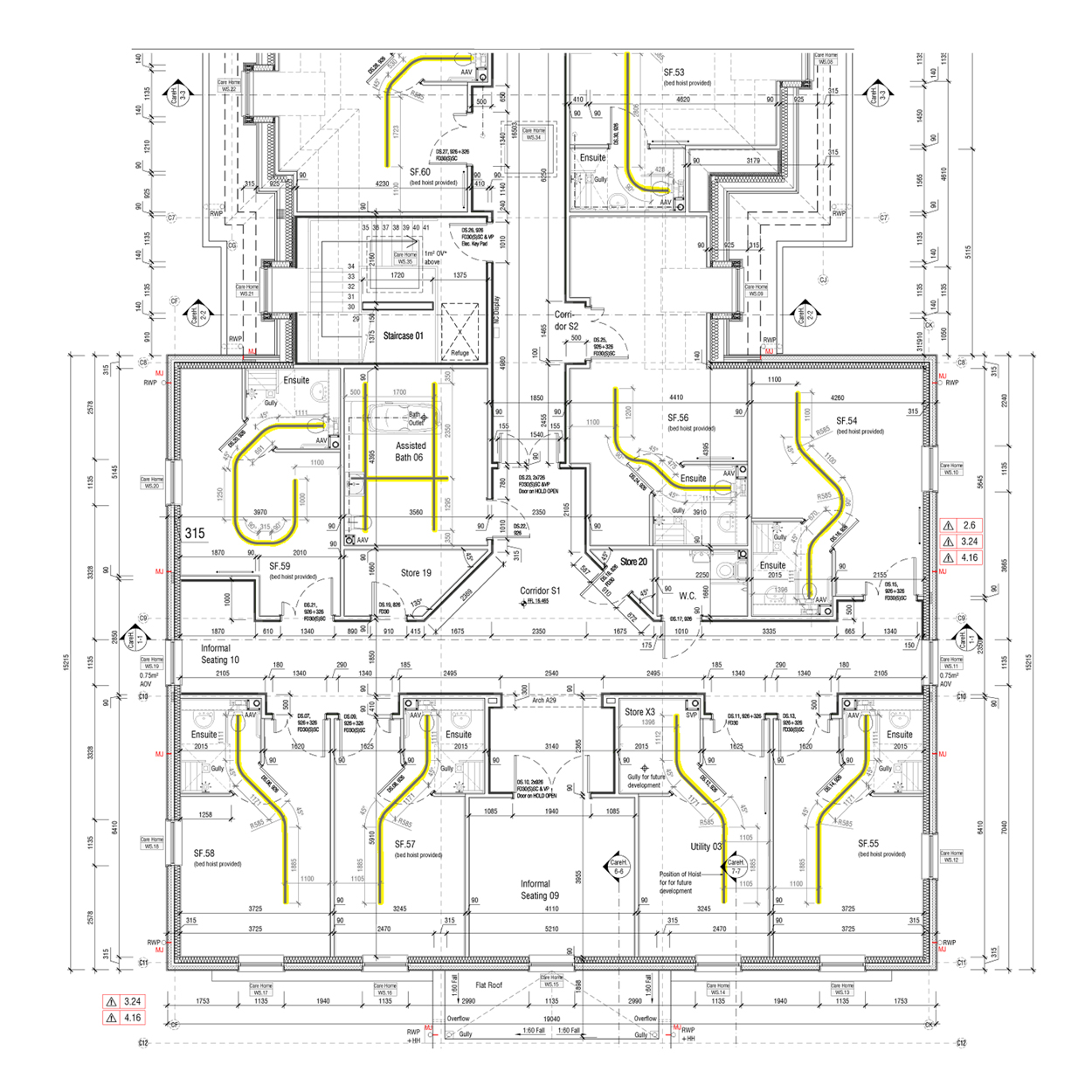 Ceiling hoist track design opemed for Retirement home plans