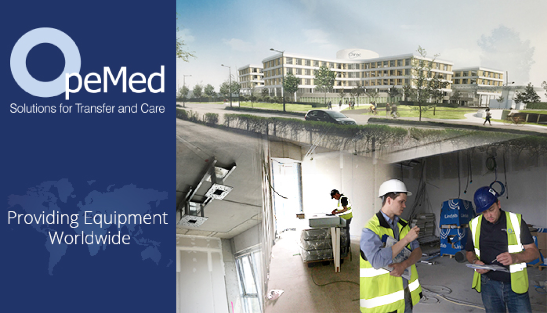 Ceiling Hoist install starts at new build Hospital in Brussels